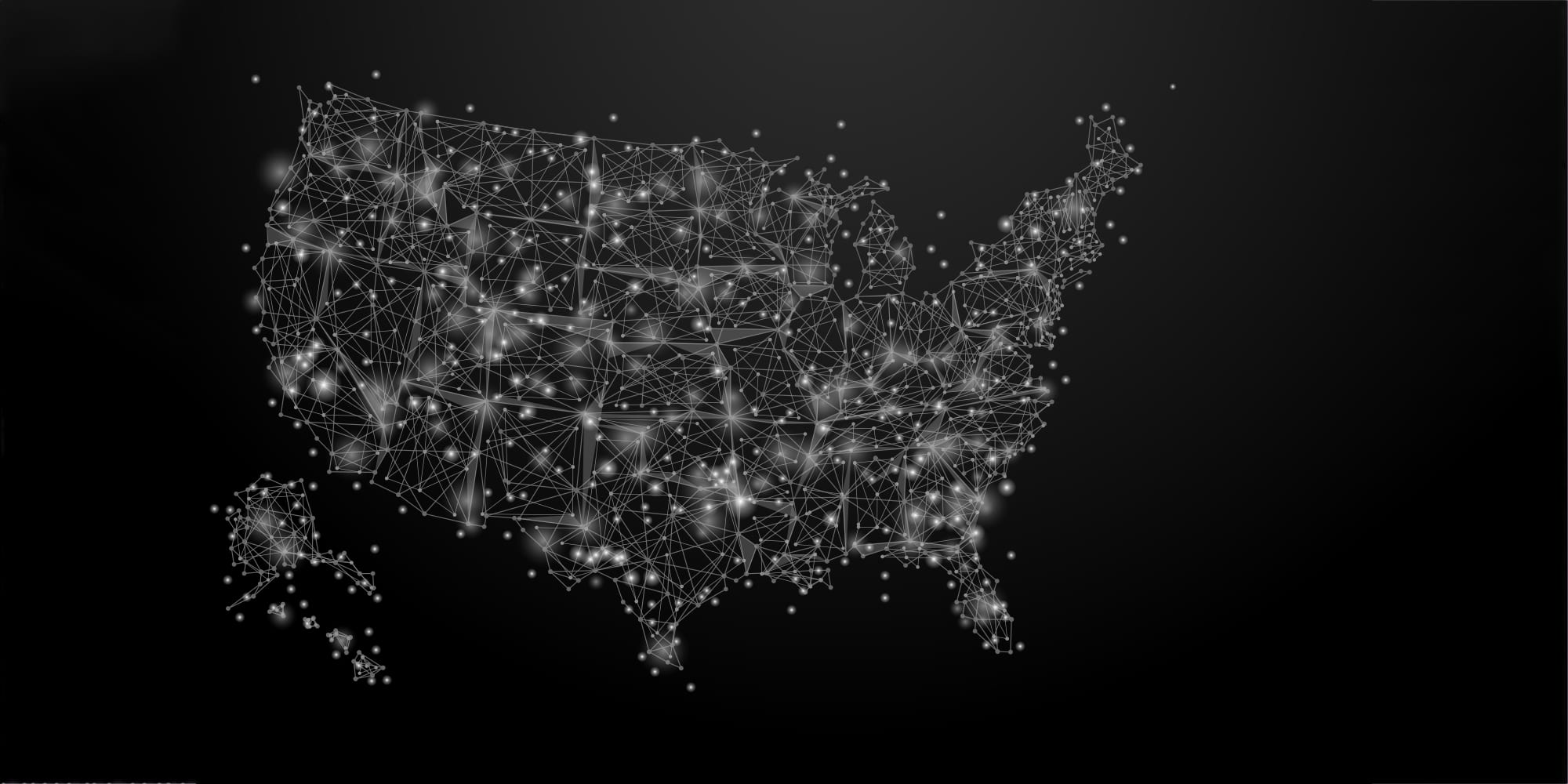Map of the united states that shows a network